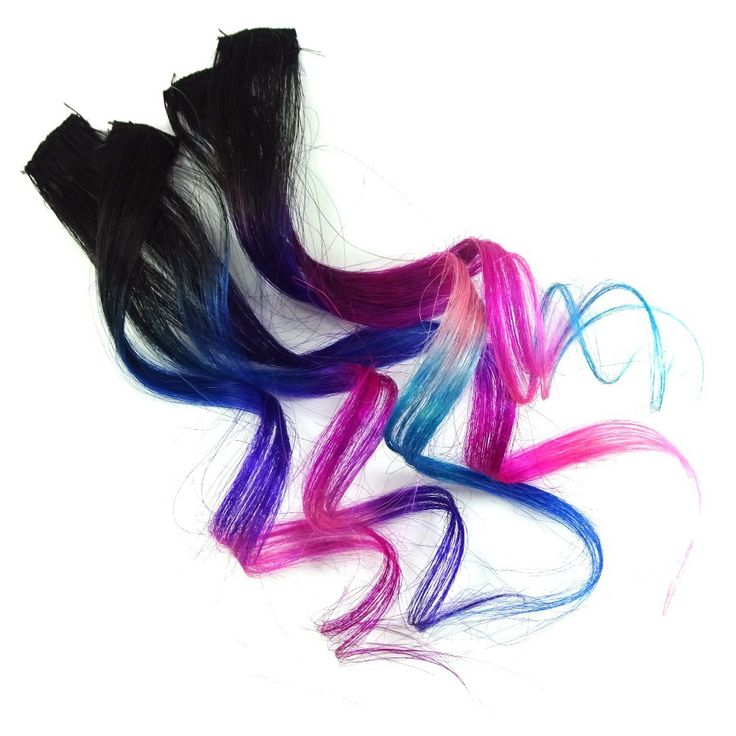 Set of five handmade 100% human hair streaks, mounted on black zig-zag wig/weave clips for easy installation.  These extensions are made from a single layer of single-wefted human hair and are a bit t