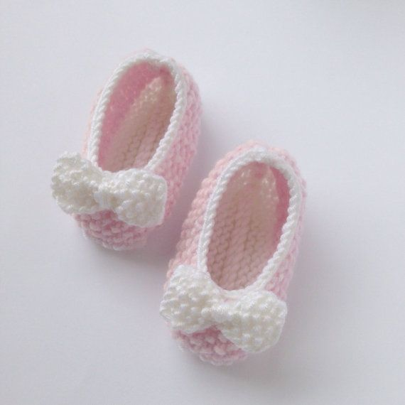 Pink Baby Ballet Pumps. Pink and White Booties. Pink by NoahandNoo