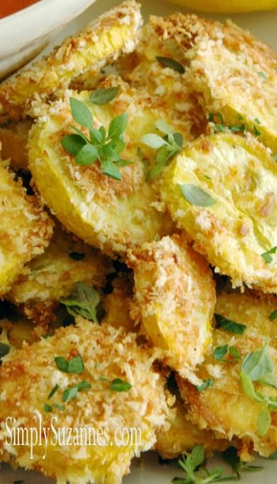 Yellow Squash Rounds..Never had them with Panko Bread Crumbs