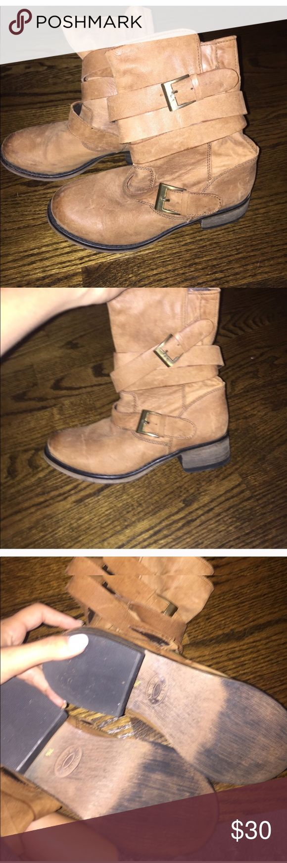Steve Madden tan boots Worn a few times, as u can see in pics. Size 7.5. Super cute with skinny jeans. Go up to calf Steve Madden Shoes Ankle Boots & Booties