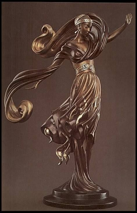 Erte sculpture - Flames of Love  Bronze Sculpture  1985