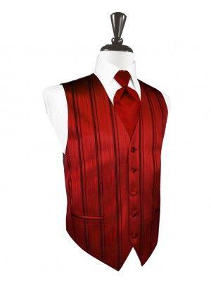 Scarlet Striped Satin Tuxedo Vest