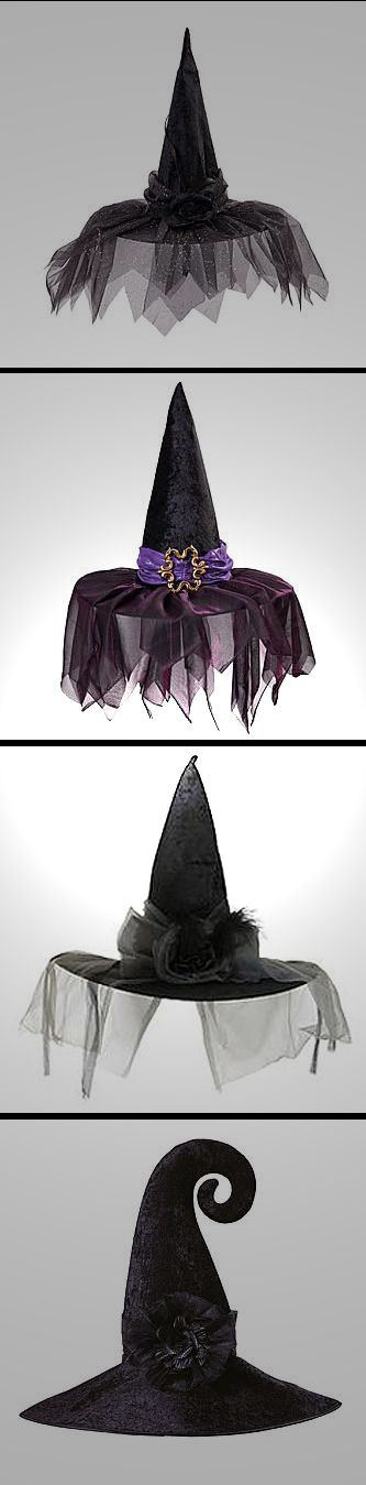 Witch hats DEFINITELY have a lot more style these days!  A bit of bling, a touch of class, Fashionista Witches have STYLE! Halloween Fashionista Fabulous Witches Theme Party & Decorating Ideas