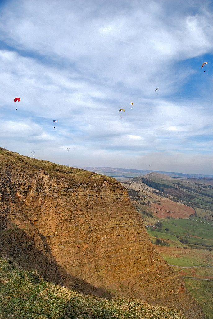 Paragliders over Mam Tor