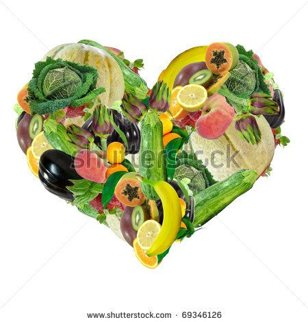 vegtable and fruit heart | Heart made of fruit and vegetables isolated over white background ...