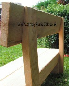 Rustic Oak Beam Garden Bench With Back Rest