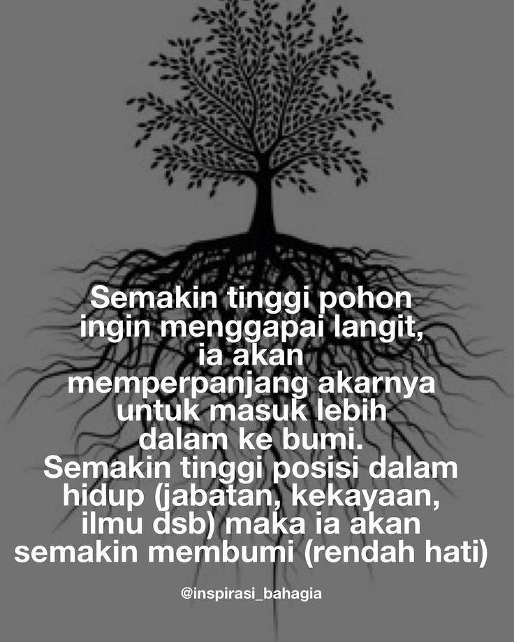 Semakin tinggi pohon ingin menggapai langit ia akan memperpanjang akarnya untuk masuk lebih dalam ke bumi.  Semakin tinggi posisi dalam hidup (jabatan kekayaan ilmu dsb) maka ia akan semakin membumi (rendah hati)