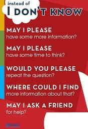 """Instead of """"I don't know"""" poster"""
