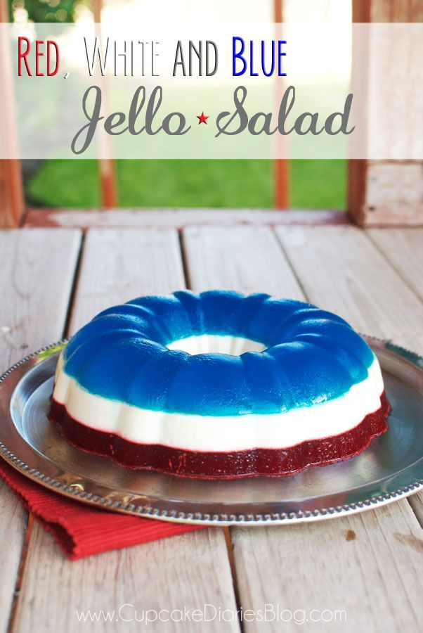 Red, White and Blue Jello Salad - This jello salad will be a show stopper at a Fourth of July bbq!