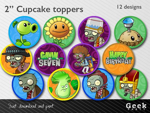 """Plants Vs Zombies 2"""" Cupcake toppers/stickers - Printable"""