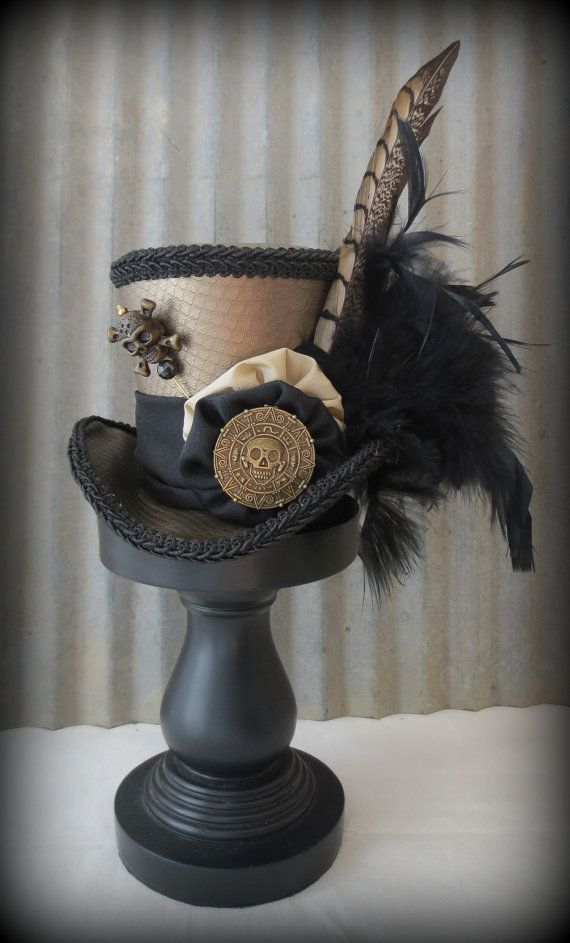 Voodoo Doctor Gold and Black Skull Mini Top Hat, Alice in Wonderland, Tea Party, Steampunk Hat, Snake skin, Mad Hatter Hat, Halloween Hat