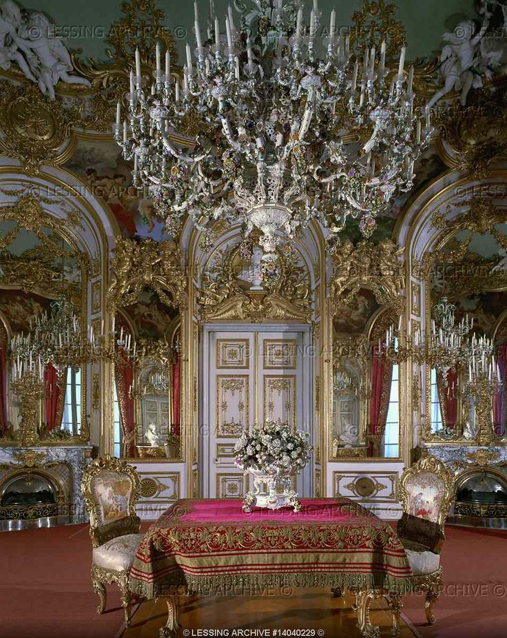 """Dollmann,Georg von.Small dining room in Herrenchiemsee palace, a residence built for Ludwig II of Bavaria, who admired France's Louis XIV and saw himself as another """"sun-king"""". Construction of Herrenchiemsee began after Ludwig's visit to Versailles in 1867."""