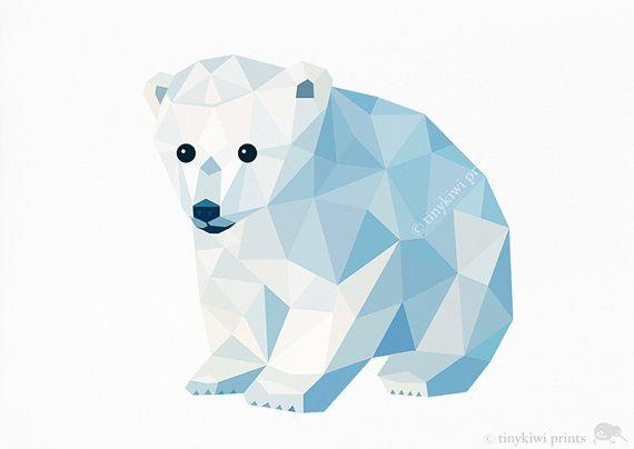 Ourson polaire bébé, géométrique d'impression, création originale, Animal print, art Minimal, art pariétal pépinière