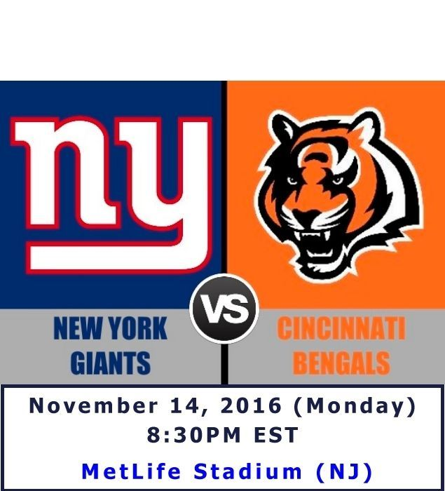 NY Giants vs Cincinnati Bengals (Nov 14, 2016) - 2 TICKETS AVAILABLE! Watch NFL like it was meant to be from lower 100 level. #NFL #NYGiants #Giants #Cincinnati #Bengals #football #tickets #ebay #entertainment #sports #sale