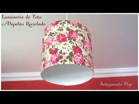 Artesanato : Luminária de Teto c/ Papelão Reciclado - Fácil de Fazer - YouTube