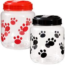 Bulk Paw Print Plastic Treat Jars at DollarTree.com......check on price break in Qty of 500 & 1000