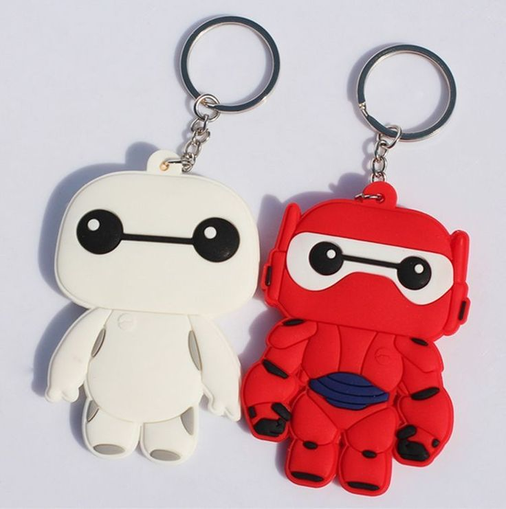 2x Big Hero 6 Baymax Marvel Keychain Pendants Disney Doll Toy S Silicon Key Ring #Disney