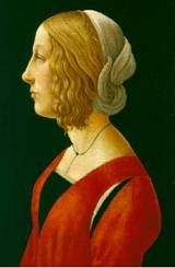Lucrezia Maria Romola de' Medici (4 August 1470 – between 10 and November 15, 1553) was an Italian noblewoman, the eldest daughter of Lorenzo de' Medici and Clarice Orsini and mother of Maria Salviati and Giovanni Salviati, who was a cardinal from 1517 until his death. Her portrait was considered (as a newborn) as the baby Jesus in Our Lady of the Magnificat of Sandro Botticelli