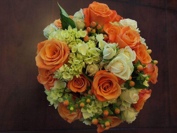 Burnt Orange and Green Wedding | Ciara choose orange roses, green hydrangea, white spray roses, and ...