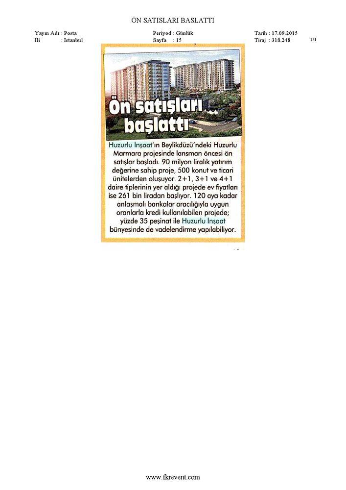 Huzurlu Marmara Ön Satışları Başlattı