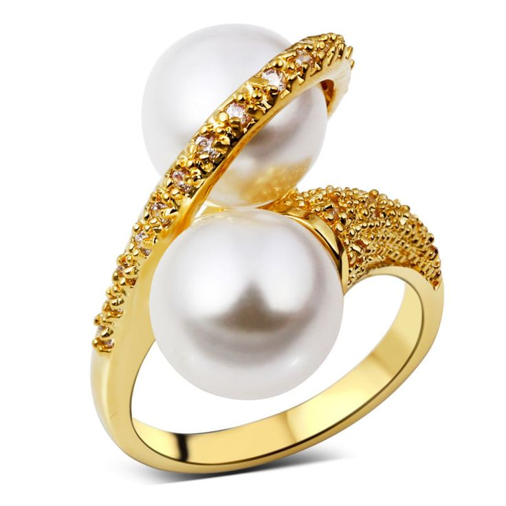 DC1989 Hot Selling Twisted Cocktail Rings for Women Twins Synthetic Pearls 10 mm Gold Plated CZ Prong Lead Free Vrouwen Ringen