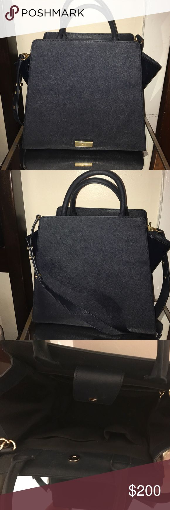 Zac Posen Handbag (Large)-Barely used Navy blue-Leather with pantent leather sides I have many Zac Posen bags and I have decided to let this one go to a new home! I promise you will get nothing but compliments! This bag is a must have!! Zac Posen Bags Satchels