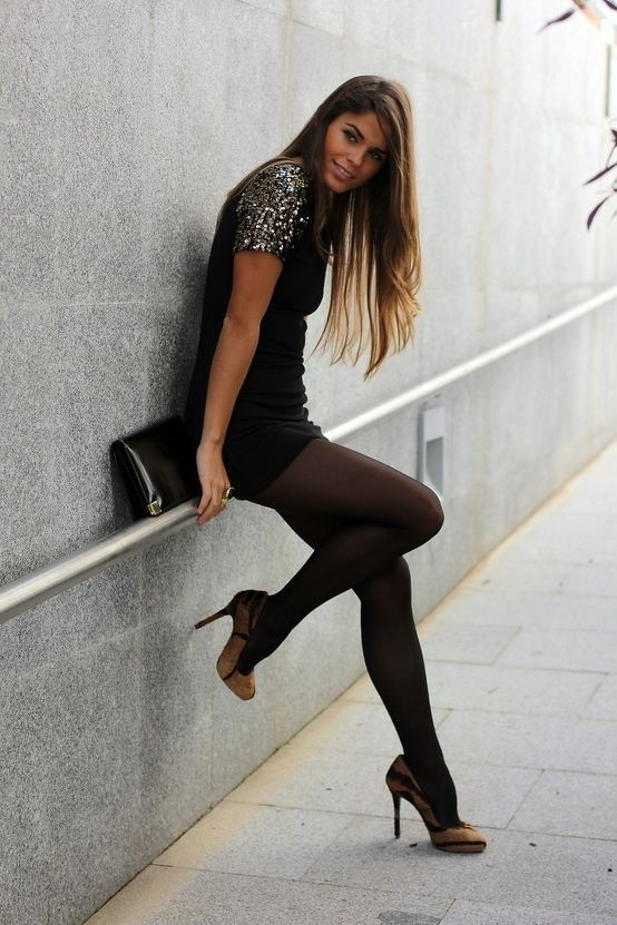 Shoulder Sleeve Glitter Sparkle With Leggings And Heels