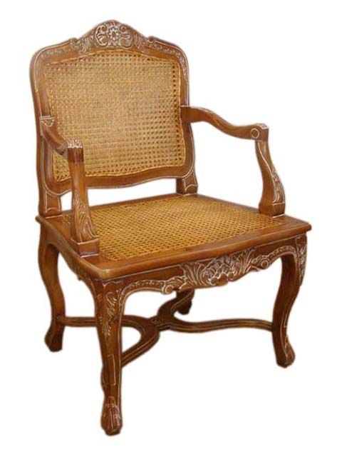 Rattan Seat Back Carver Chair. #HandmadeFurniture from solid Mahogany wood with #RattanSeat by #sokokayu