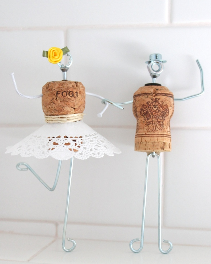 Whimsical Champagne Cork Wedding Cake Topper with Dress. $85.00, via Etsy.