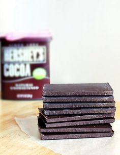 """""""Homemade """"Hershey's"""" Chocolate Bars!  Just THREE ingredients to the best chocolate bars you will ever eat."""""""