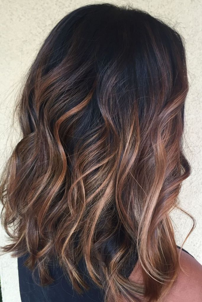 25 best ideas about balayage on black hair on pinterest for Balayage braun caramel