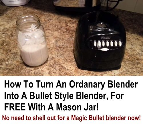 Fancy a bullet blender like a Magic Bullet, but don't want to shell out $100 for one? Now you don't have to! If you have a standard cheap blender like the one in the video above, there is a good chance that the size and thread match that of a mason jar,...
