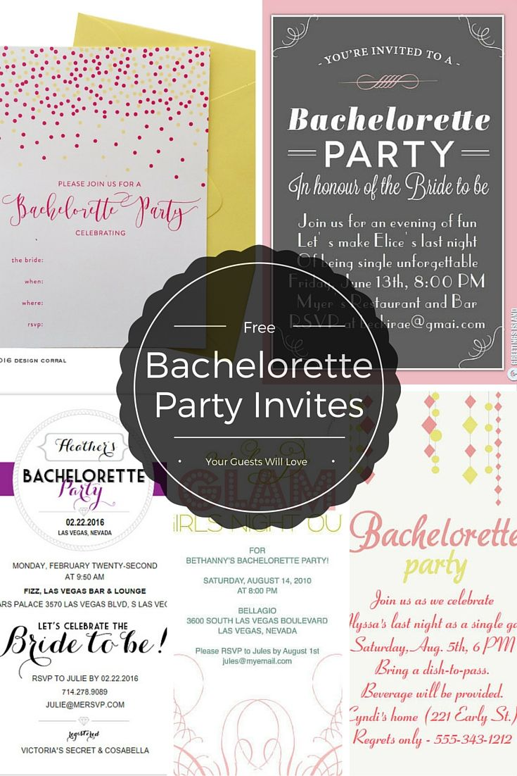 Invite your guests in style with these free, printable bachelorette party invites.