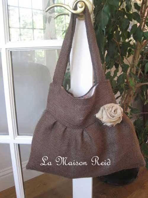Free Bag Pattern and Tutorial - Burlap Purse with Shabby Rose