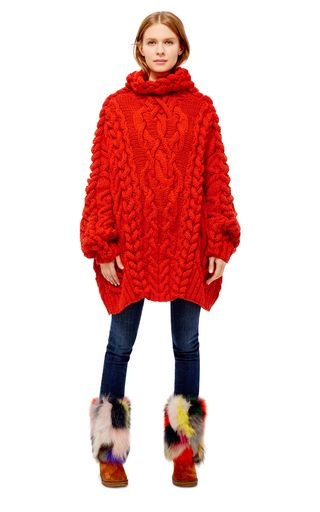 This **Spencer Vladimir** Vlad sweater features an oversized cableknit design with a rolled turtleneck.