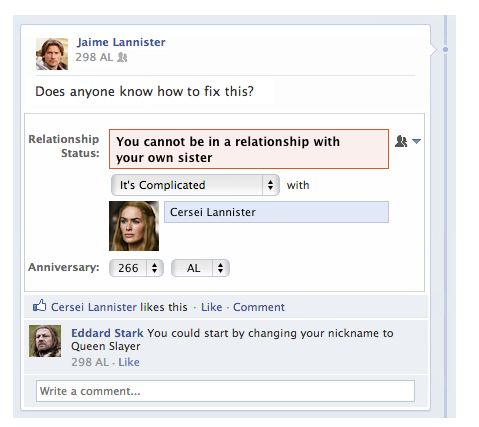 Facebook says you cannot be in a relationship with your sister #gameofthrones