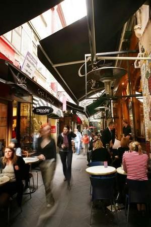 Melbourne laneways and undercover outdoor dining.