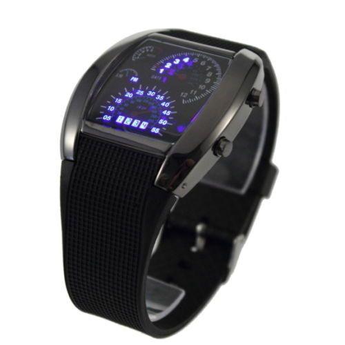 Herren Aviation Matrix LED Watch Uhr Binäre Stylisch Armbanduhr Tacholook AR | eBay