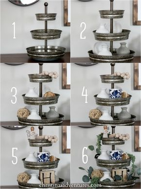 Step by step tutorial for how to style a tiered tray #HobbyLobbyStyle #NationalDecoratingMonth #ad Hobby Lobby