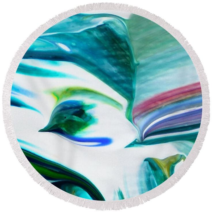 Beach Towel - Mixed Media Abstract F11317l Round Beach Towel by Mas Art Studio. #Beach #Towel #abstract # bird #blue #color # contemporary #decorative # forms #gestural #interiors #irregular #marthaannsanchez #MasArtStudio