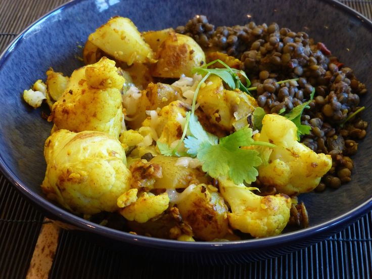 Cauliflower, potatoes and lentils