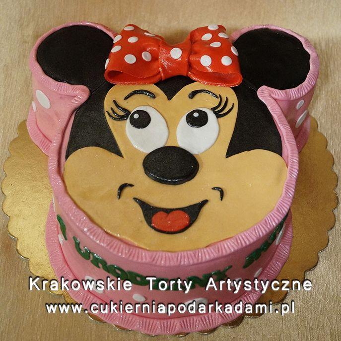 124. Tort głowa myszki Minnie. Minnie Mouse cake.