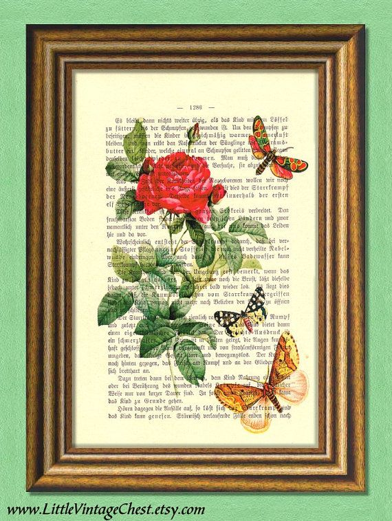 RED ROSE and BUTTERFLIES  Dictionary art by littlevintagechest, $7.99
