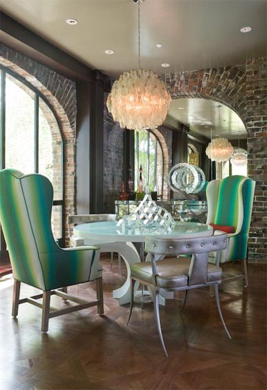 ANTIQUE with MODERN Dining.  Love the green shades on the chairs.