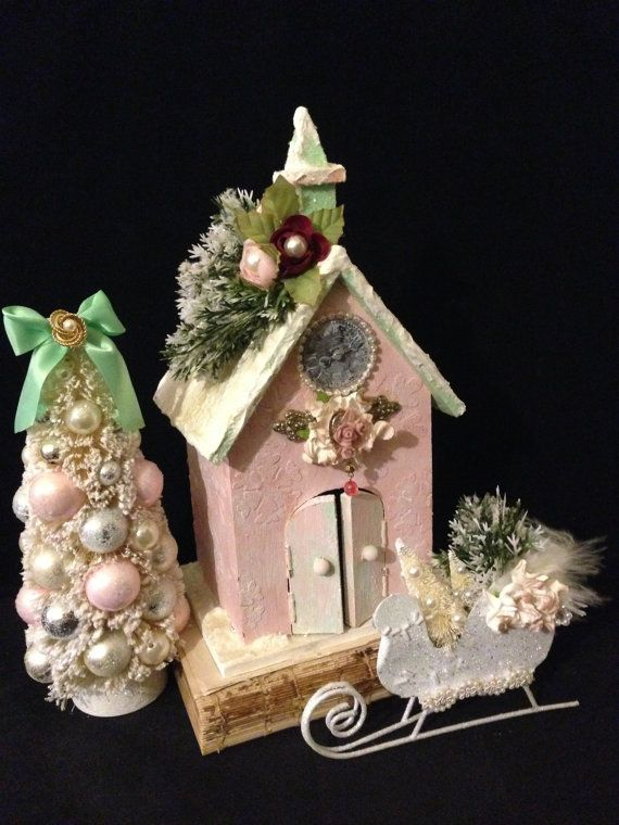Victorian Christmas Village Set Shabby Chic Pink by ThePokeyPoodle