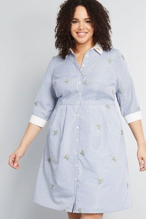 Plus Size Shirt Dresses for Women | Striped shirt dress ...