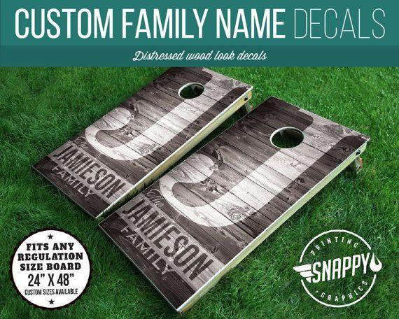 Monogrammed Cornhole Decal - Distressed Wood Look, Rustic - PAIR - Vinyl Decal Cornhole Wrap - Monogram Cornhole, Reunions, Wedding Cornhole