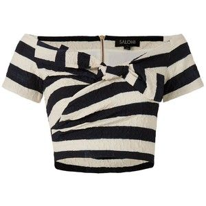 Saloni Carrie Striped Off The Shoulder Crop Top