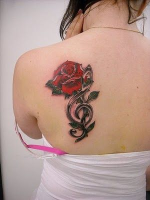 rose with music note tatto images   Girly Tattoos - Flower and Musical Notes Tattoo Design