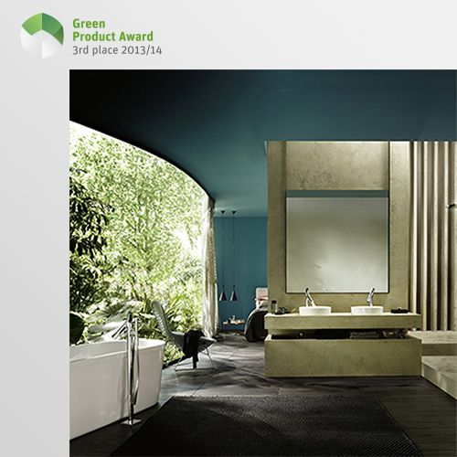 3rd place Professionals Green Product Award 2013/14, category Home Accessories: Axor Starck Organic, the latest bathroom collection from Axor and design partner Philippe Starck, touches hearts and minds equally. The collection endorses a more responsible use of water and energy without compromising the user experience. In fact, the efficient shower spray comes with a flow rate of 3.5 liters per minute and provides a gently bubbling water experience.